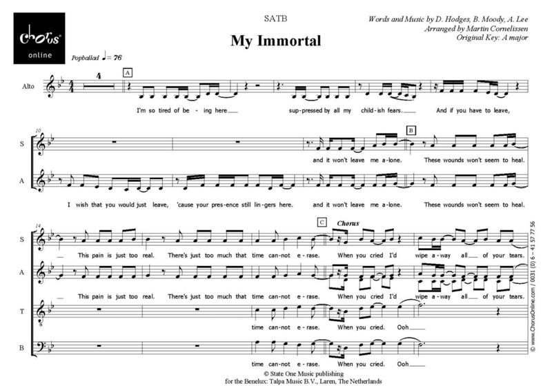 Piano Sheet Music Evanesance My Immortal